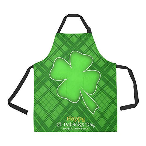 InterestPrint St. Patrick's Day Clover Apron for Women Men Girls Chef with Pockets, Green Leaf of Clover Silhouette Unisex Adjustable Bib Apron Kitchen for Cooking Baking Gardening Home