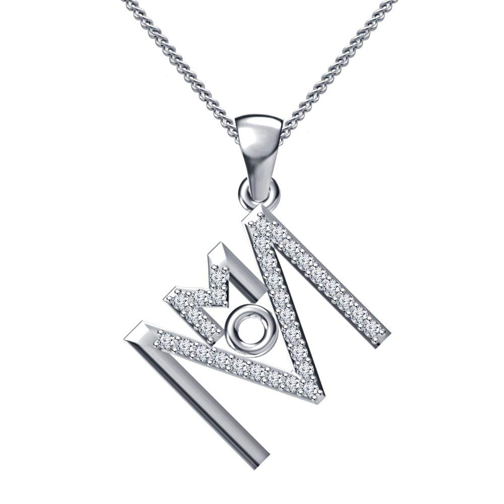Shakti Jewels Mother Day Special 925 Sterling Silver Cubic Zirconia MOM Pendant with 18 Chain