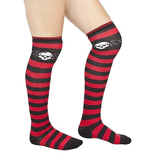 Red & Black Striped Bat Skull Thigh High Socks from Sourpuss Clothing (Red And Black Thigh High Socks)