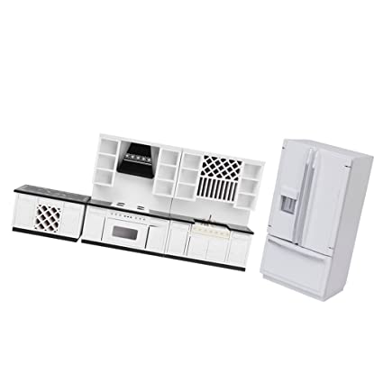 Amazon Com Homyl Miniature Kitchen White Wooden Cabinet Set Kit 1