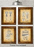 beer artwork - Original Wine Patent Art Prints - Set of Four Photos (8x10) Unframed - Great Gift for Wine Lovers, Wine Cellars or Grottos