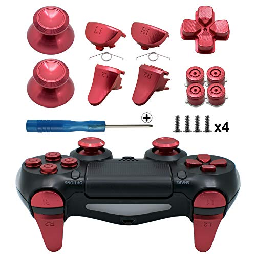 TOMSIN Metal Buttons for PS4 Slim/ PS4 Pro Controller, Aluminum Metal Thumbsticks Analog Grip & Bullet Buttons & D-pad & L1 R1 L2 R2 Trigger for PS4 Controller Gen 2 (Mental Red)