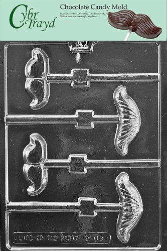 Cybrtrayd Life of the Party D112 Mustache Assortment Lolly Chocolate Candy Mold in Sealed Protective Poly Bag Imprinted with Copyrighted Cybrtrayd Molding Instructions