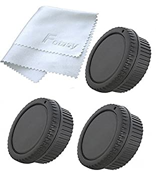Fotasy MA2X 2x Rear Lens Cover, Camera Body Cap Set and Cleaning Cloth for MFT Micro 4/3 M43 Mirror Less Camera (Black) Photography Accessories INC