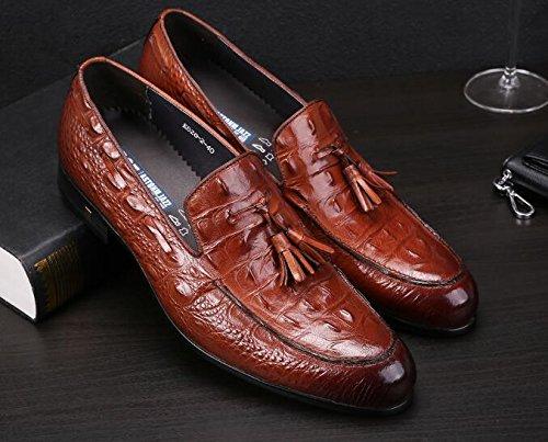 Happyshop(TM) British Style Men's CROCO Leather Tassel Oxfords Derbies Slip-on Dress Shoes