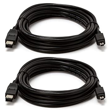 15ft Firewire 400 6 to 4 Pin Male IEEE 1394 iLINK Cable Cord PC MAC 15/' Black