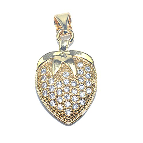 DongStar Jewelry Premium Cooper Paved Cubic Zirconia Crystal Strawberry Berries Jewelry Necklace Pendant (Strawberry Italian Charm)