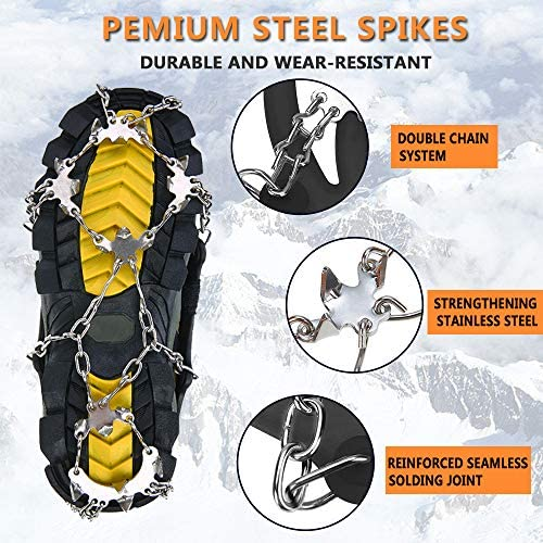 Unizooke Crampons Ice Cleats for Women Men,Traction Snow Grips, 19 Micro Spikes Ice Crampons for Walking, Jogging, Climbing and Hiking Fishing Mountaineering