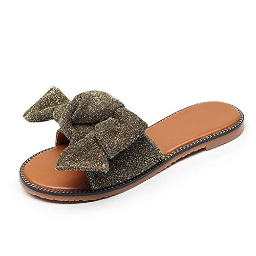 LIXIONG zapatillas Hembra verano Moda Fondo plano Corbata de moño estudiante Antideslizante zapato, Con altura de 1cm, 2 colores, 5 dimensiones -Zapatos de moda ( Color : La Plata , Tamaño : EU36/UK4/ Oro