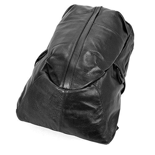 Mens Backpack Retro Leather Shoulder Bag Sheepskin Backpack Leather Long Shoulder Bag Comfortable Big Bag Mens Fashion Color : Black, Size : L