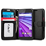 Motorola G (3rd Generation) Case, J&D [Stand View] Moto G 3rd Generation Case Wallet Case [Slim Fit] [Stand Feature] Premium Protective Case Wallet Leather Case for Moto G (3rd Gen, 2015) (Black/Red)