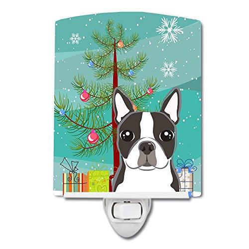 Caroline's Treasures Christmas Tree and Boston Terrier Ceramic Night Light, 6x4, Multicolor