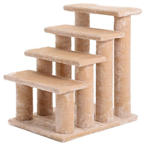 21'' pet ramp cat 4-Step Stairway Perch Scratcher Stairs Dog Ladder Beige