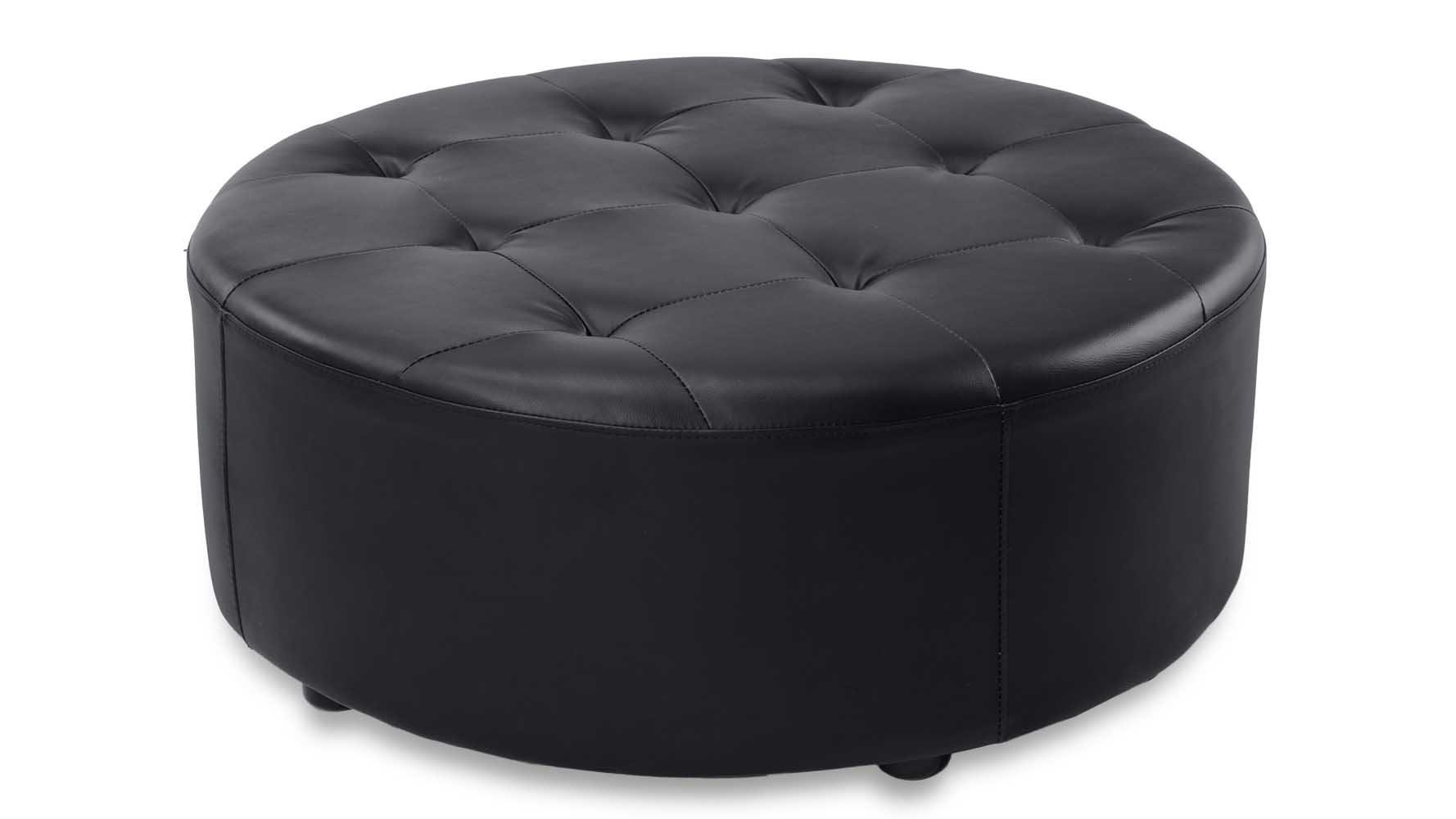 Lock Round Modern Tufted Ottoman - Black
