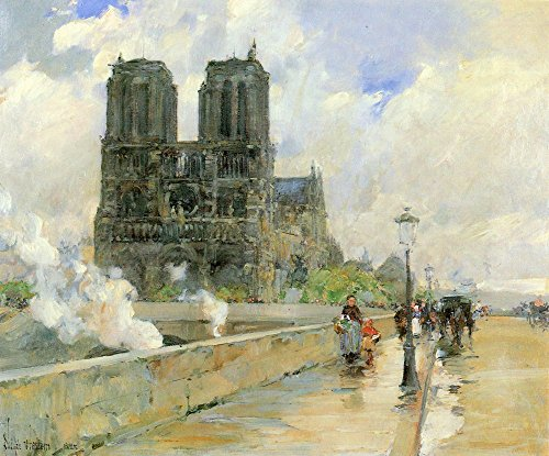 The Museum Outlet - Cathedral of Notre Dame, 1888 by Hassam, Stretched Canvas Gallery Wrapped. - Stretched Canvas 1888