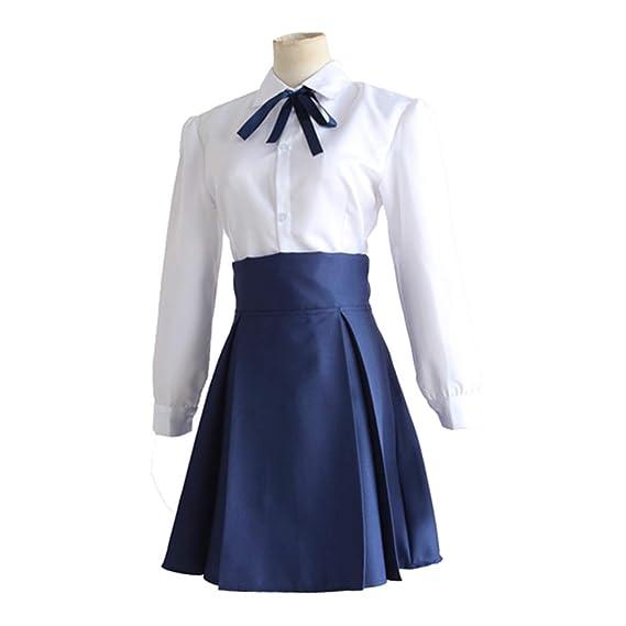 YKJ Anime Cosplay Disfraz Camisa Blanca Falda Azul Juego Disfraz ...