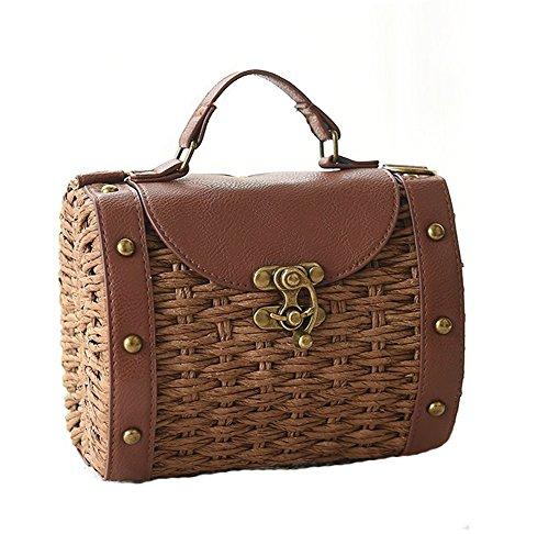 (Tonwhar Baroque Style Retro Rivet Portable Small Box Woven Shoulder Messenger Bag (Brown))