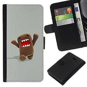 For Sony Xperia M2 Case , Character Meme Internet Teeth - la tarjeta de Crédito Slots PU Funda de cuero Monedero caso cubierta de piel