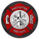 "Novelty Metal Sign - Firefighter, Fire Department, Ladder Company - Man Cave, Game Room, Garage, Work Shop - 12"" Round"