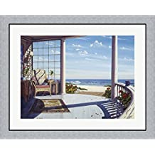 Curved Porch I by Lee Mothes Framed Art Print Wall Picture, Flat Silver Frame, 32 x 26 inches