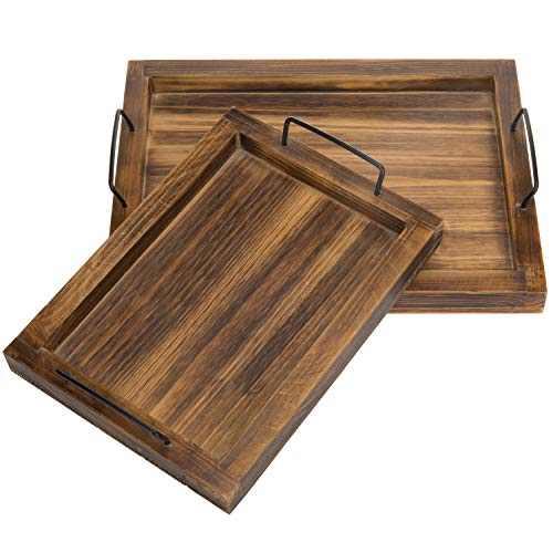 - MyGift Set of 2 Country Rustic Burnt Wood Finish Rectangular Nesting Serving Trays w/Metal Handles