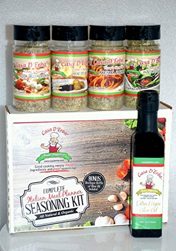 Organic Italian Seasoning Meal Prep - Authentic New York Italian Seasoning - Famous Gourmet Casa D'Erba Italian Restaurant Flavor Spices and Seasonings - Extra Virgin First Cold Press Olive Oil Included