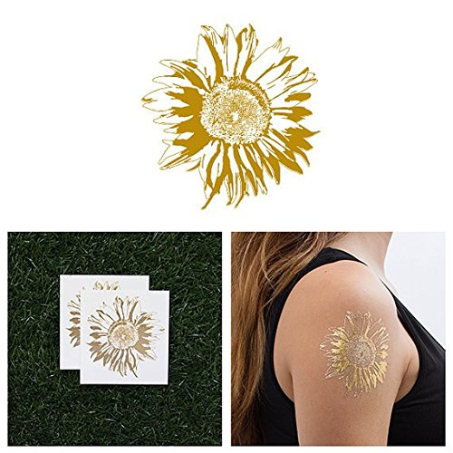 Tattify Metallic Gold Sunflower Temporary Tattoo - Sunflower (Set of 2) - Other Styles Available - Fashionable Temporary Tattoos - Long Lasting and Waterproof
