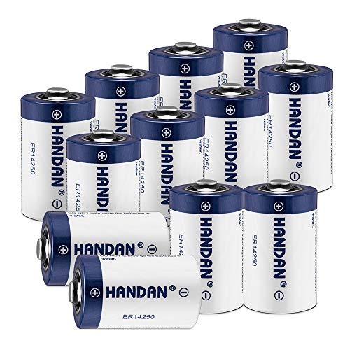 12 Pack ER14250 Battery 1/2 AA Size LS 14250 3.6V 1200 mAh Lithium Batteries (Non Rechargeable) Compatible for Dog Watch Fence Collars, Some of Baby Movement Monitor, Alarm -
