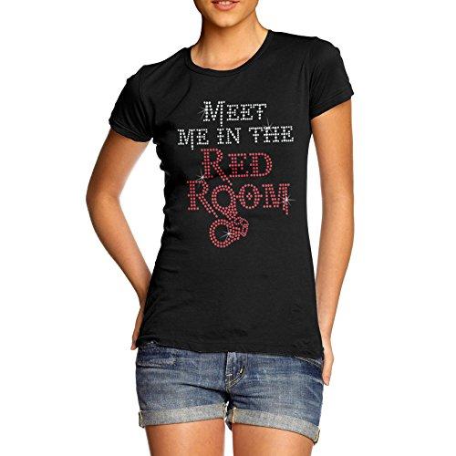 Women Cotton Novelty Rhinestone Gift Joke Meet Me In The Red Room T-Shirt Black - Clothing Shades Women's