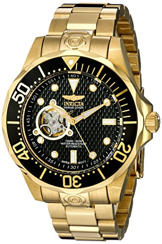 """Invicta Men's 13709 """"Grand Diver"""" 18k Gold Ion-Plated Automatic Watch"""