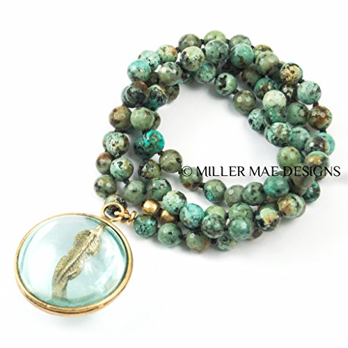 Feather Crystal Ball Pendant with Hand-Knotted African Turquoise - Handmade Necklace by Miller Mae Designs