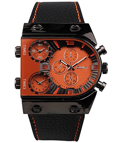 Oulm Men's Steampunk Skeleton Automatic Mechanical Alloy Stainless Steel Leather Watch CH164