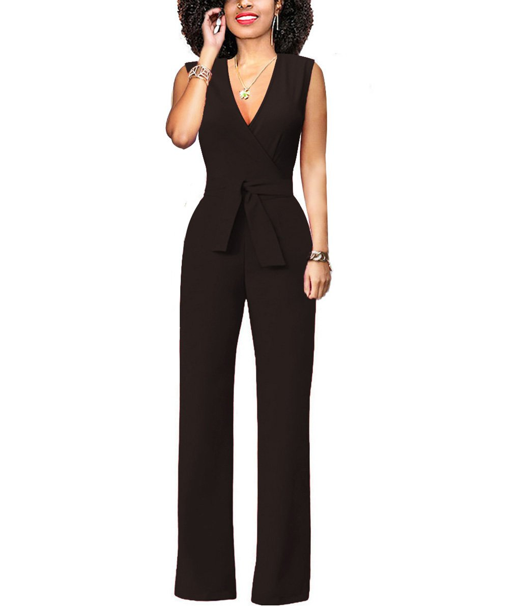 MissLover Women's Sexy Sleeveless Wrap Top Wide Leg Long Pants Jumpsuit Romper with Belt Black S