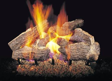 Peterson Gas Logs CHRRSOG4-2-24 24in. Charred Rugged Split Oak 7 Log See-thru Set for Standard Fireplace