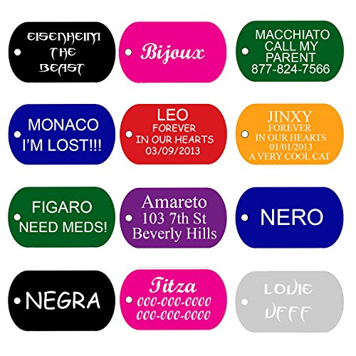 Pet ID Tags Many Shapes & Colors For Dogs and Cats Premium Aluminum (GI ()