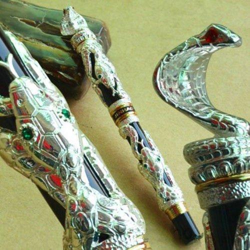 jinhao-vintage-style-gray-silver-terrorist-cobra-medium-nib-fountain-pen-new