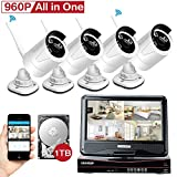 [All in One KIT] YESKAM Wireless Security Camera Systems 4CH 10inch Monitor Auto Pair 4 x HD 960P 1.3M CCTV Cameras Pre-install 1TB HDD For Home Video Surveillance Day and Night Vision 100FT
