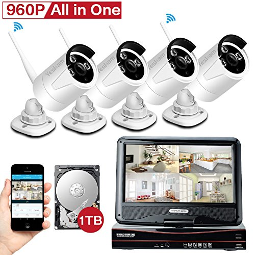 [All in One KIT] YESKAM Wireless Security Camera Systems 4CH 10inch Monitor Auto Pair 4 x HD 960P 1.3M CCTV Cameras Pre-install 1TB HDD For Home Video Surveillance Day and Night Vision 100FT by YESKAM