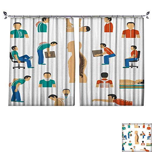 ated Blackout Curtain with hookflat Color Isolate Icons for Diagnosis Spine Diseases Treatment Back Pain Reduce Noise Pollution,W72 xL45 ()