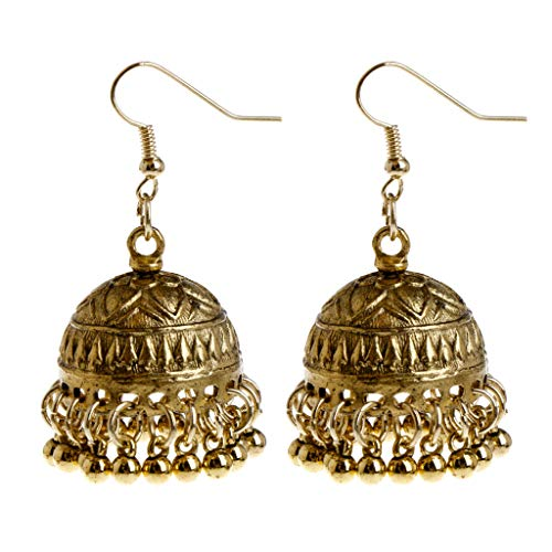 Kofun Earrings, 1 Pair Ethnic Earrings Dome Pendant Tassel Exquisite Elegant Vintage Charms Women Jewelry Dangle India Cage Drop Large Gold