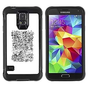 Híbridos estuche rígido plástico de protección con soporte para el SAMSUNG GALAXY S5 - white black pattern hipster