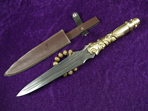 Kung Fu Chinese spear,Dagger(Folding steel,Brass tail,Leather scabbard) Length 21""