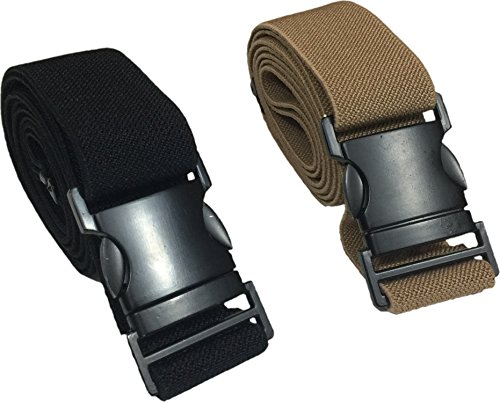 2 pack adjustable Men and Women's STRETCH Belt with UNBREAKABLE FLAT easy snap-on metal buckle. Fits ALL SIZES. 1 Khakhi and 1 Black elastic - International Shipping Cost