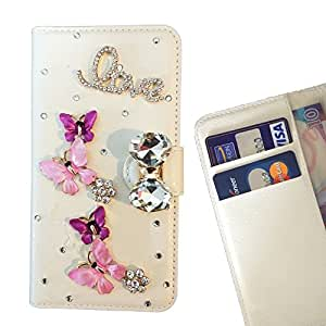 FOR HTC Desire 826 Butterfly Flower Pink Bling Bling PU Leather Waller Holder Rhinestone - - OBBA
