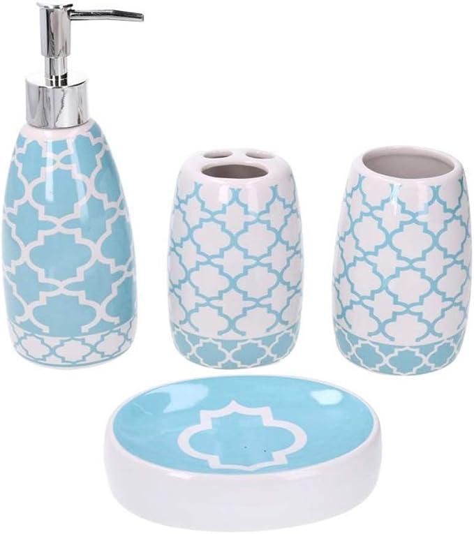 Piushopping Set Accessori Bagno Completo in Ceramica Bianco Rosa e Grigio 4 Pezzi Design Moderno