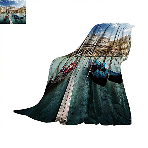 Italian Super Soft Lightweight Blanket Gondolas in The Venetian Adriatic Lagoon Historical Venezia Photo Oversized Travel Throw Cover Blanket 70 x 60 inch Blue Sand Brown Almond Green (Venezia Cover)