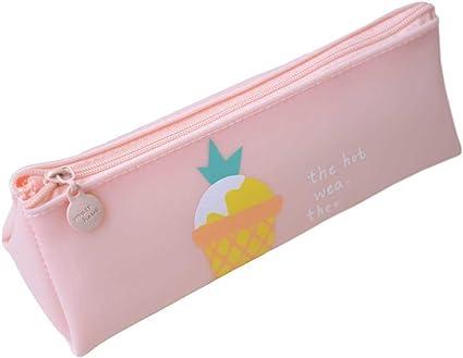 Samgu de silicona serie caramelos Pastel caja de lápices estuche escolar, color rosa 180 * 70 * 55mm: Amazon.es: Oficina y papelería