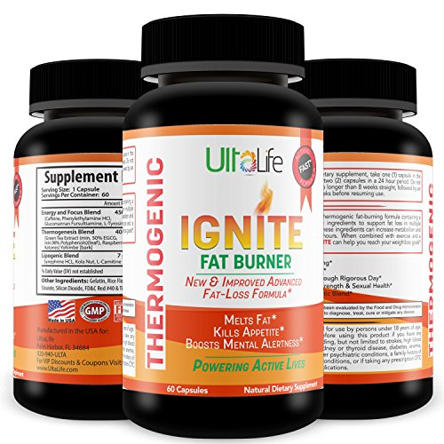 Ignite's 60 Day Fat Burning Weight Loss Diet Pills for Men & Women - Fast Working Thermogenic Fat Burners + Energy & Focus Blend,60 Capsules by UltaLife