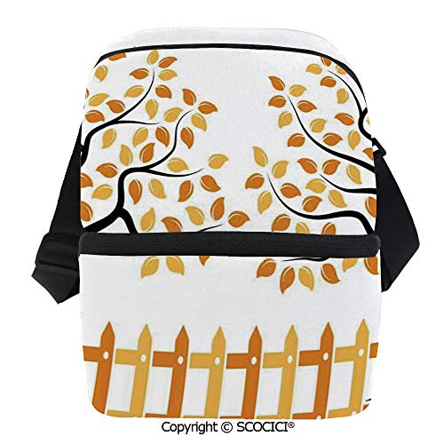 SCOCICI Reusable Insulated Grocery Bags Border with Shady Deciduous Autumn Trees Growth Leaf Seasonal Background Thermal Cooler Waterproof Zipper Closure Keeps Food Hot Or Cold ()