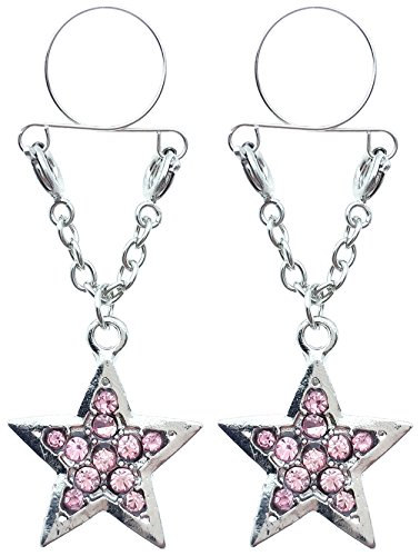 21secret Sexy Body Jewelry Adjustable Cilp on Long Dangle Chain Pink Full Rhinestones Set Cute Five-pointed Star 2Pcs Clamps Shields Non Pierced Fake Nipple Rings